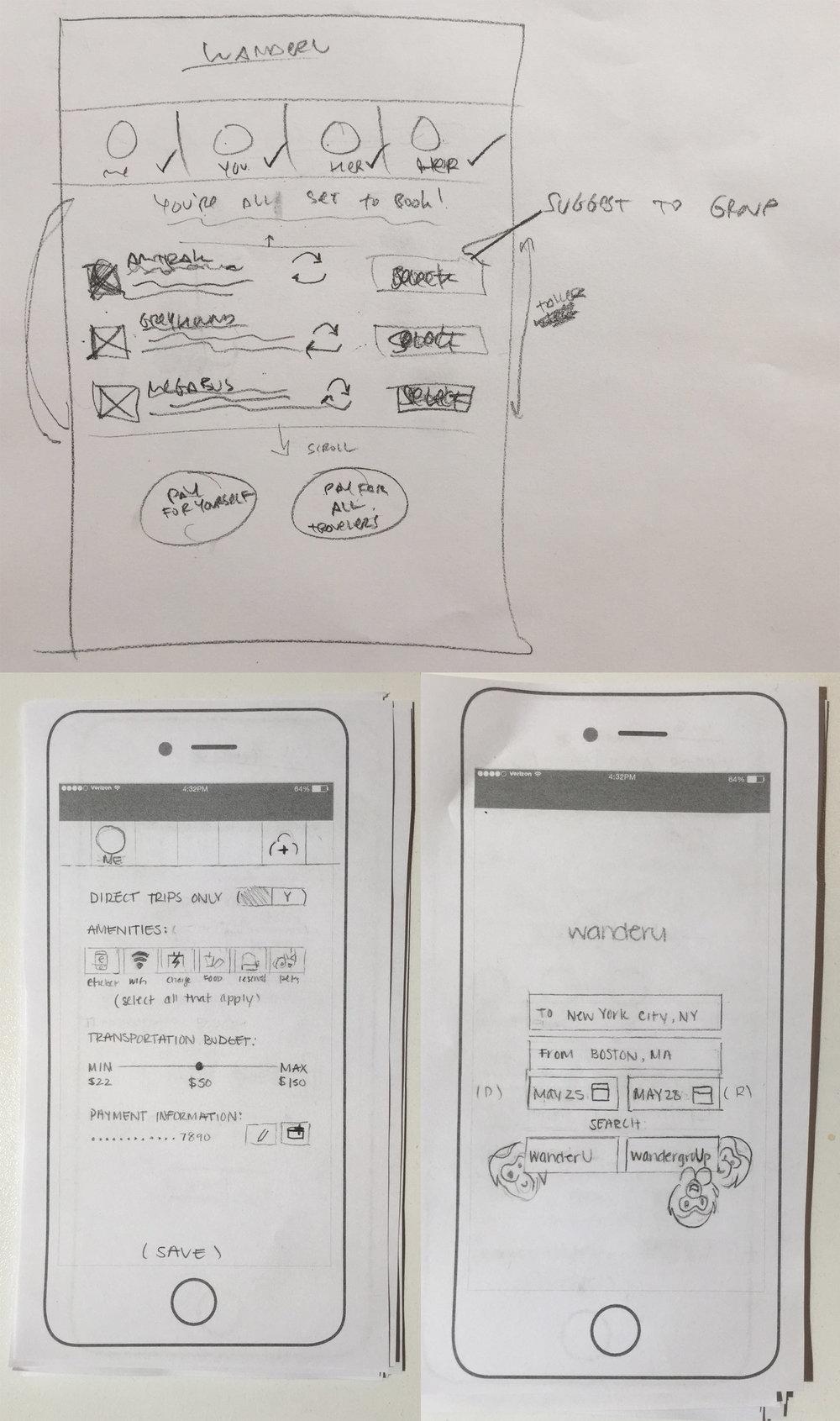 A few paper sketches.