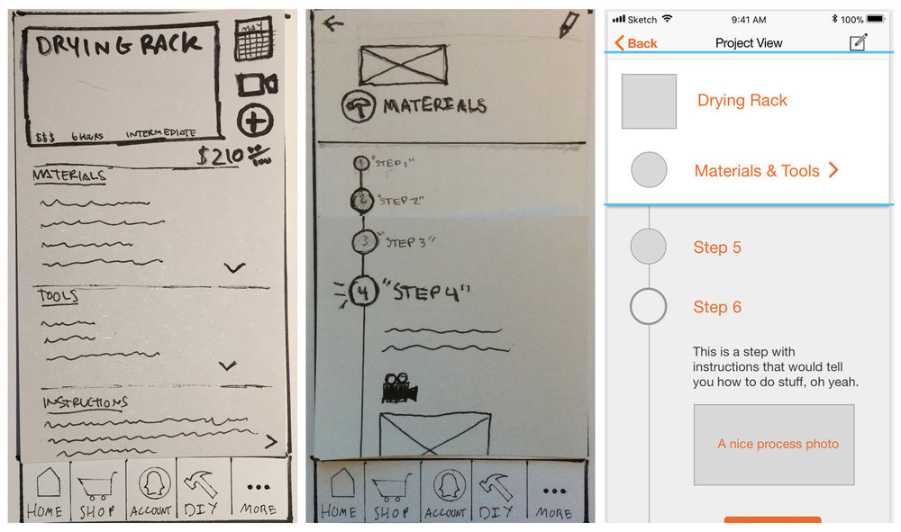 A series of iterations for our Drying Rack product page.