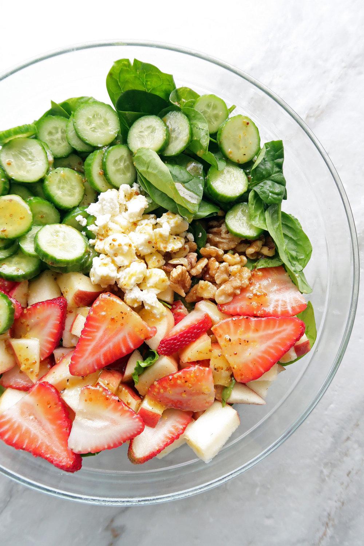 Source:  https://www.yayforfood.com/recipes/strawberry-cucumber-spinach-salad-apple-cider-vinaigrette