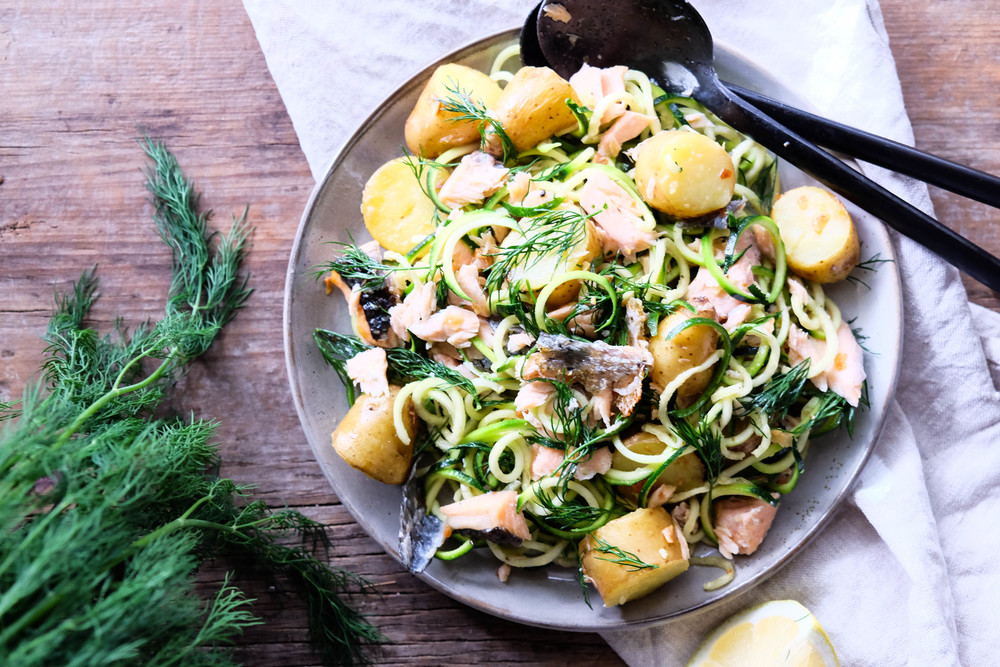 Warm potato and salmon salad