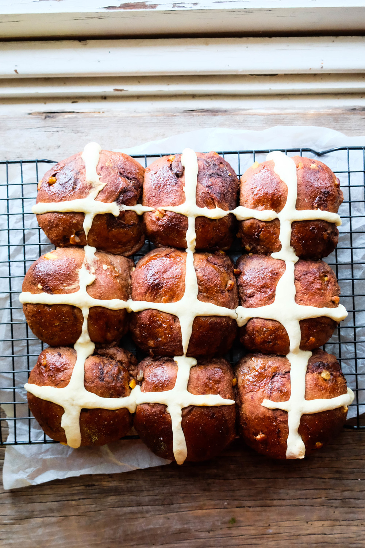 Freshly baked hot cross buns