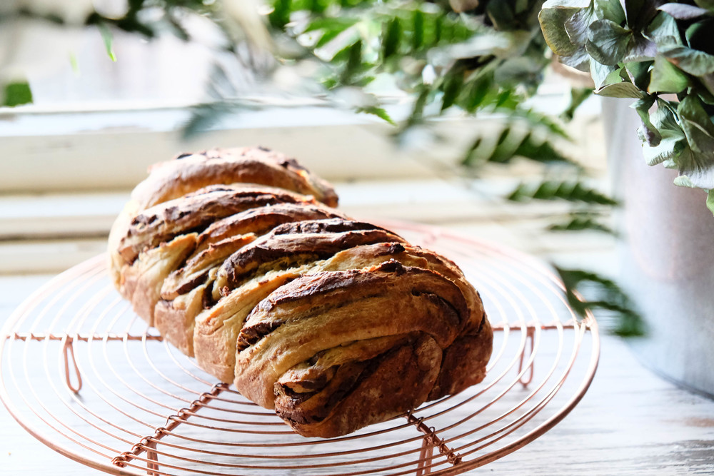 Homemade healthy nutella babka