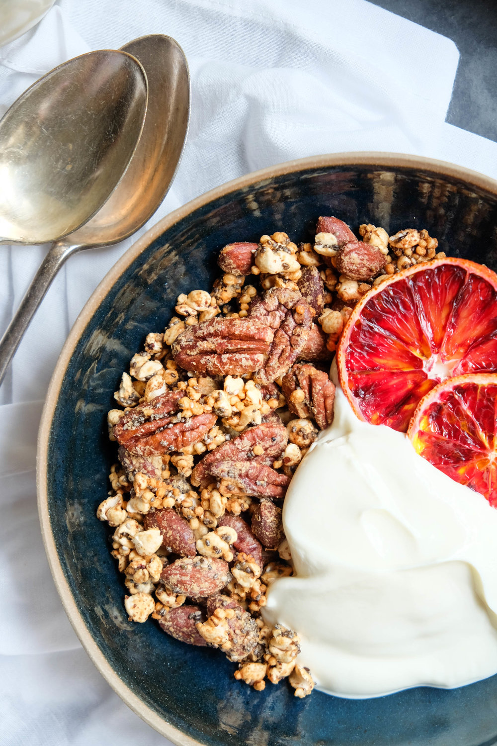 Healthy tahini maple granola
