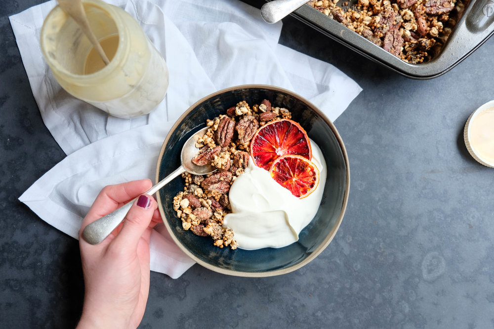 Healthy maple tahini granola