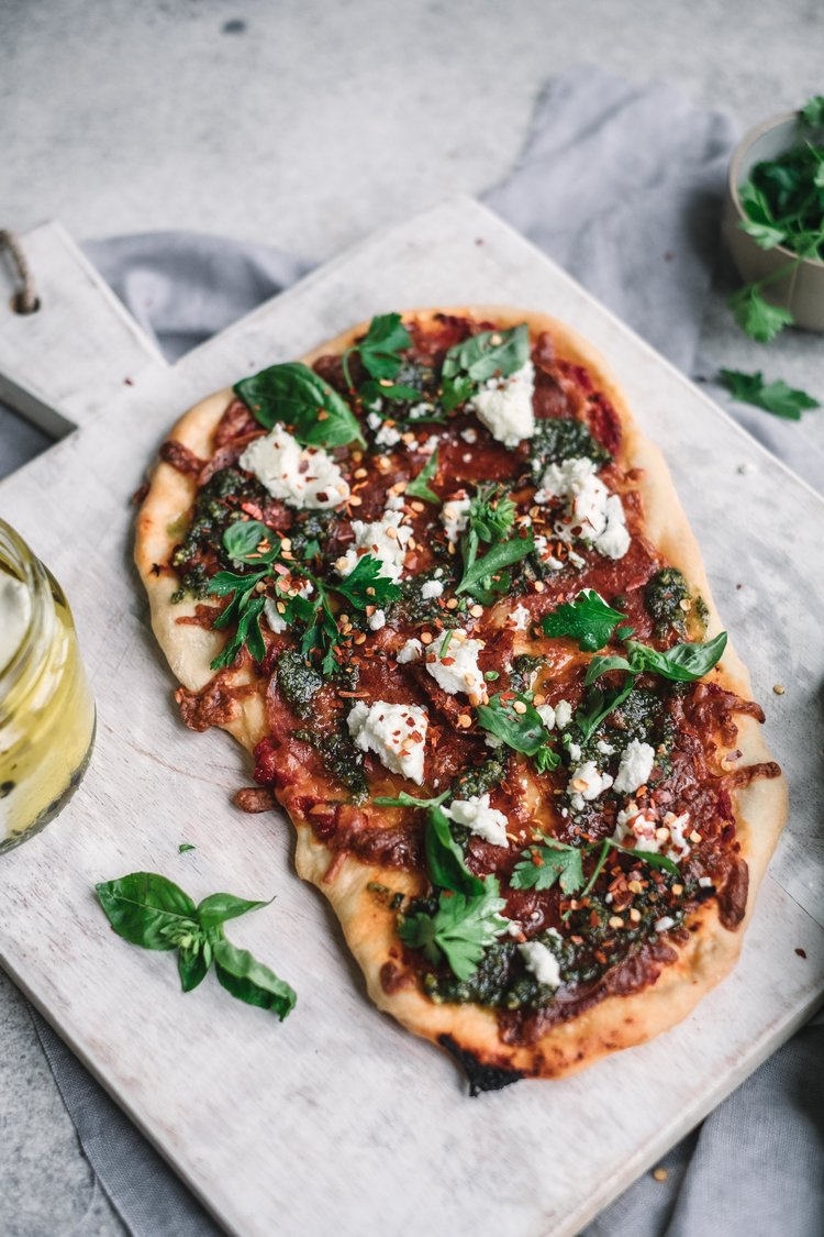 Sopressa Pizza with Pesto and Goat Cheese