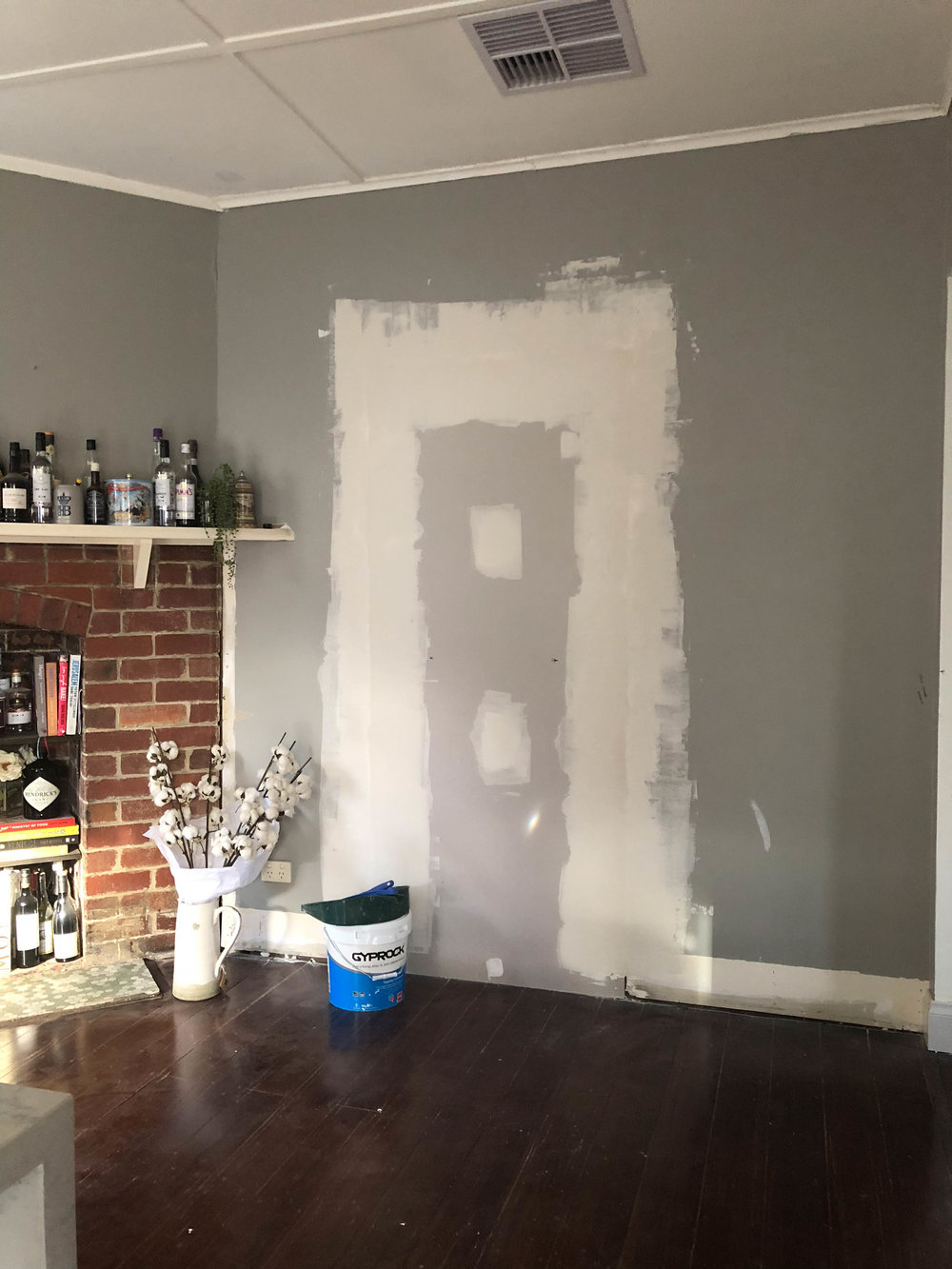 We had to remove a door which was totally pointless and re-plaster in the kitchen area.
