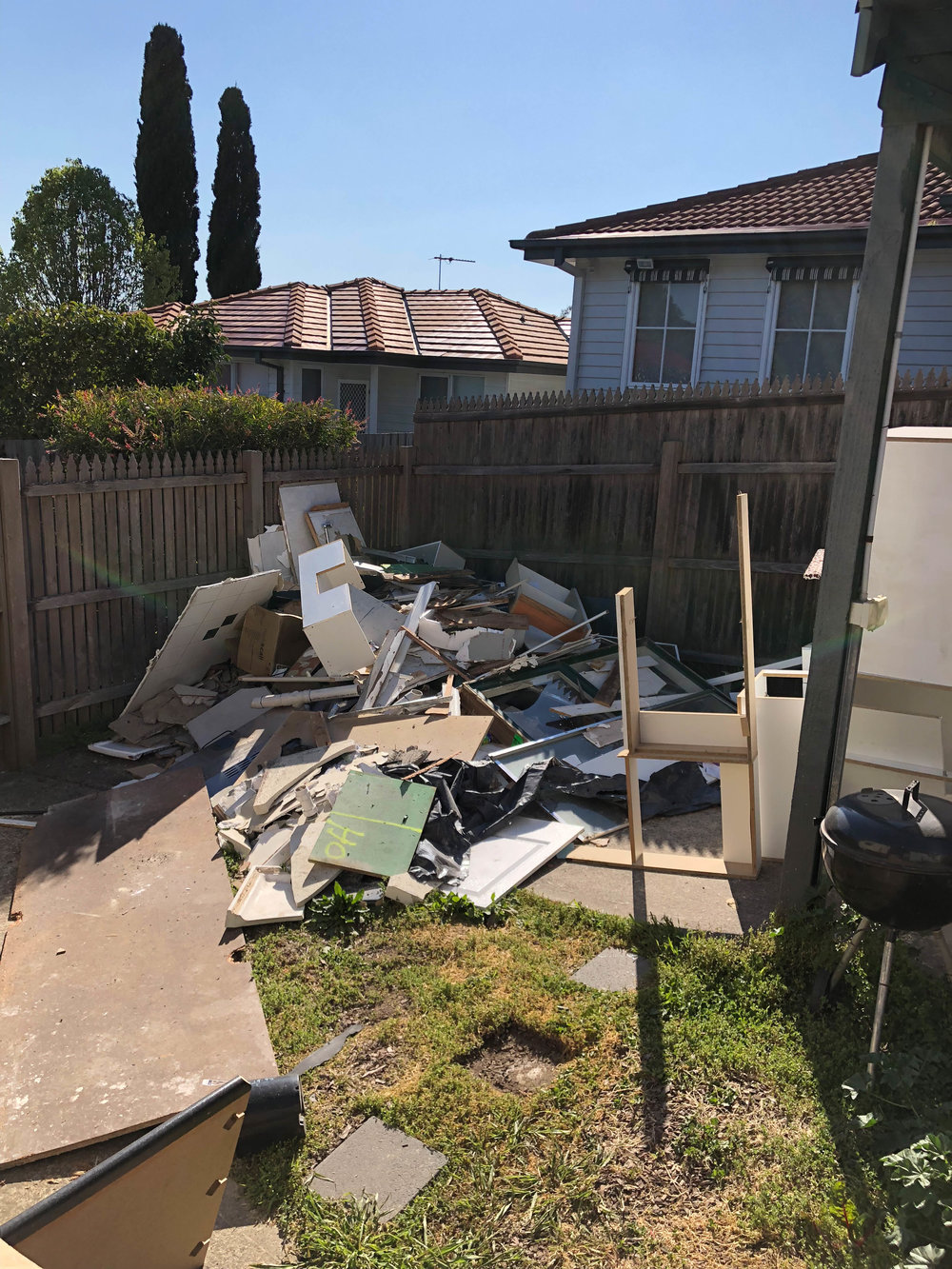 Our backyard wasn't the nicest at this stage haha!