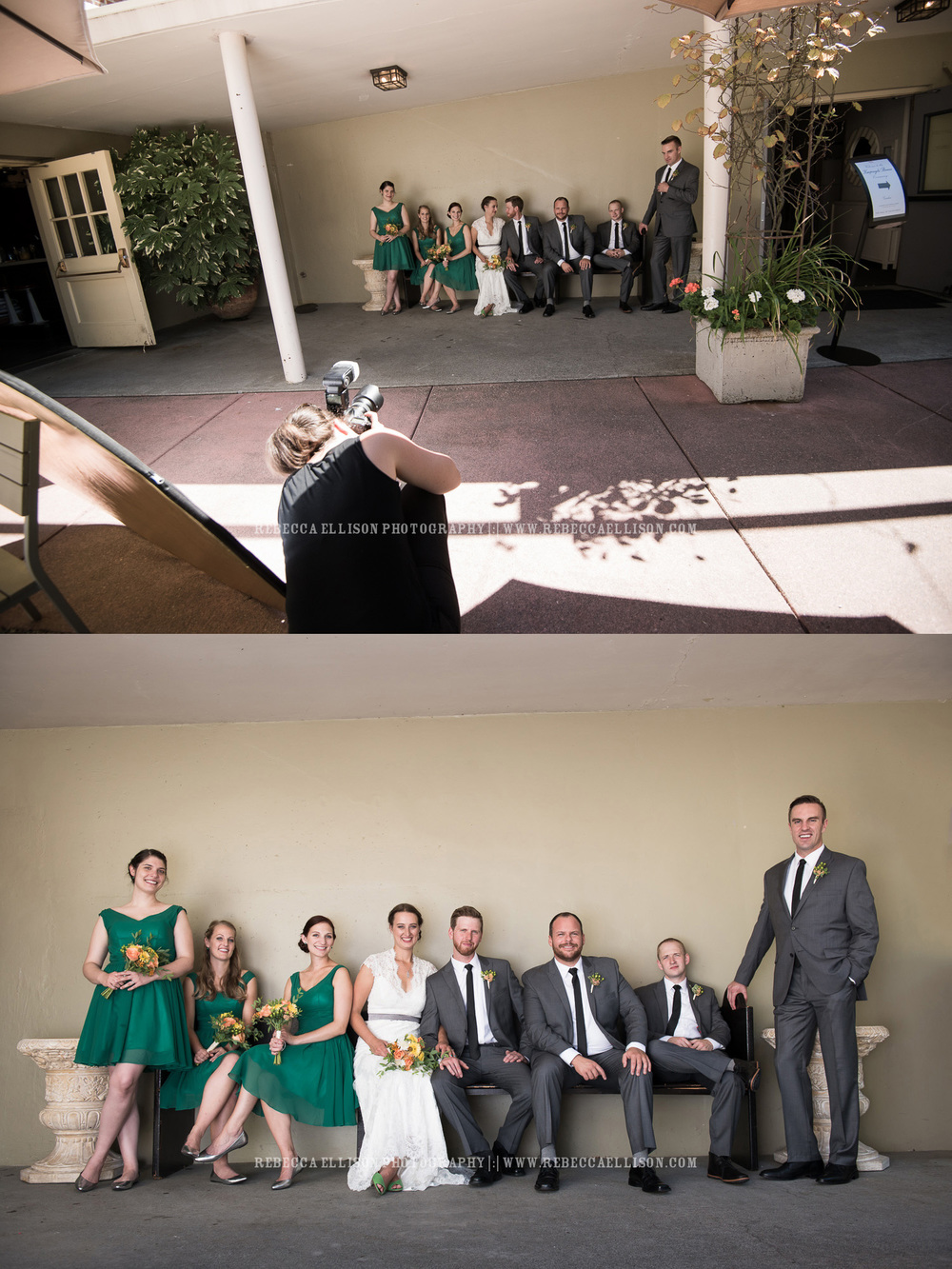 Wedding behind the scenes of bridal party shot
