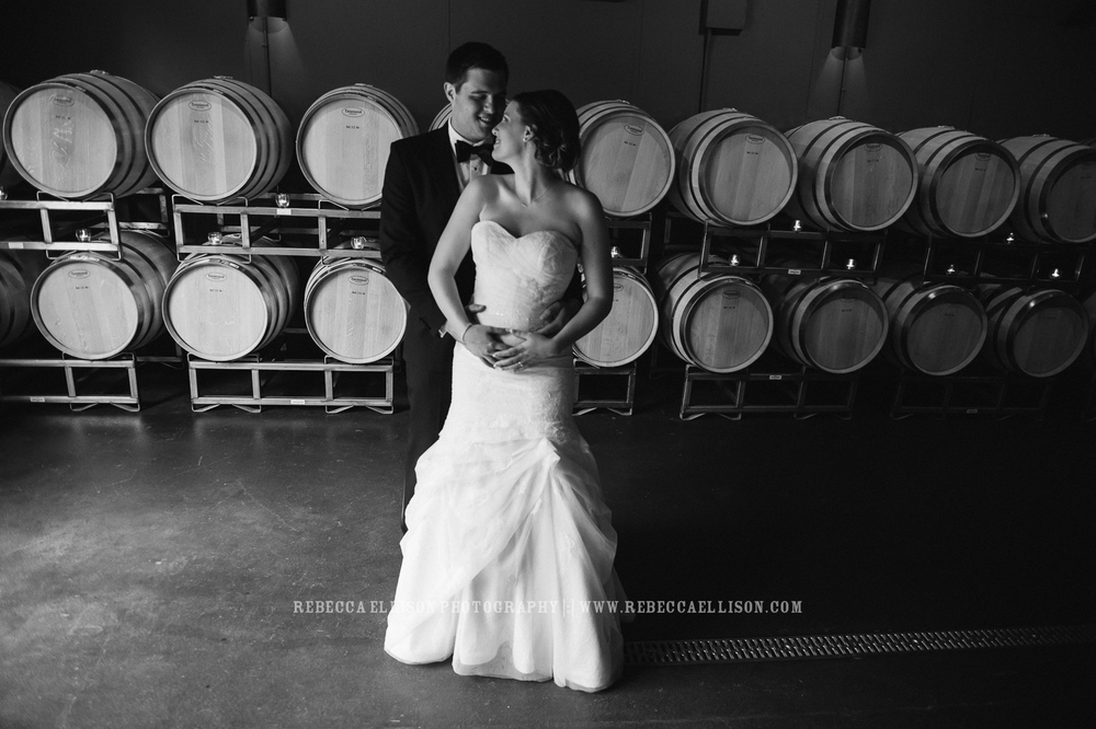 Bride and Groom in Cellar room |JM Cellars Wedding | Intimate Winery Wedding | Seattle Wedding Photographer | www.rebeccaellison.com