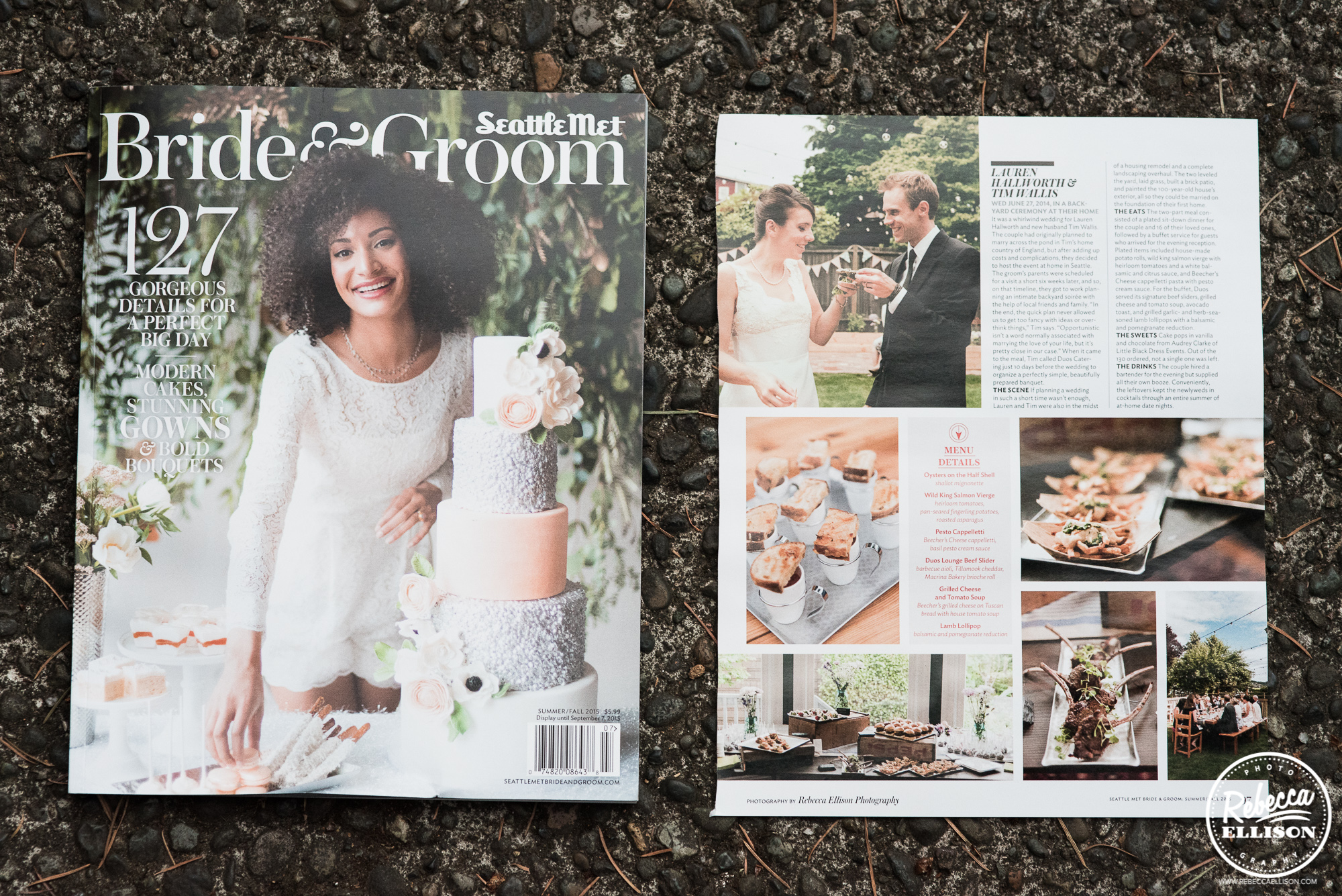 Seattle Met Bride and Groom smbg wedding food feature of Rebecca Ellison Photography with Duos Catering