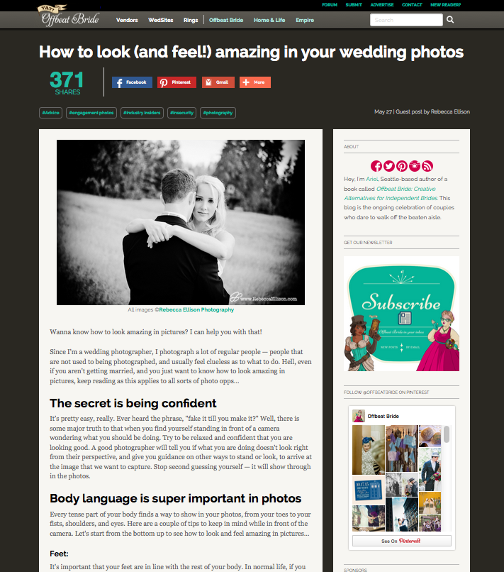 how to look amazing in photos article on Offbeat Bride