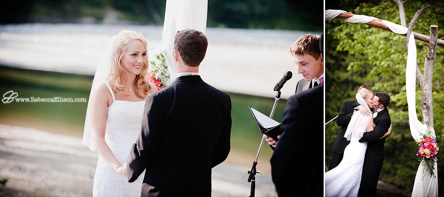 wedding ceremony by a river in Arlington, WA