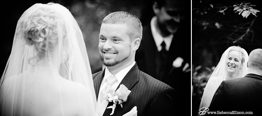 bride and groom laugh during their wedding ceremony at MonteVilla farmhouse in Bothell wa