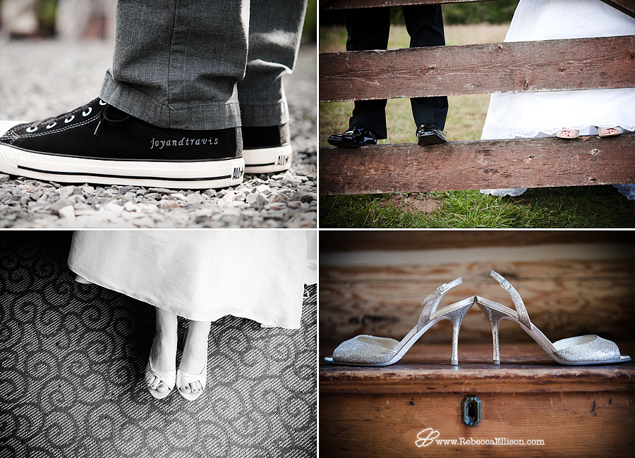 montage of wedding shoes