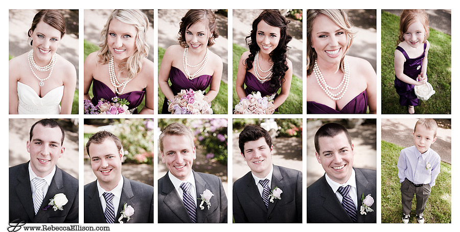 portrait montage of entire Seattle based wedding party.