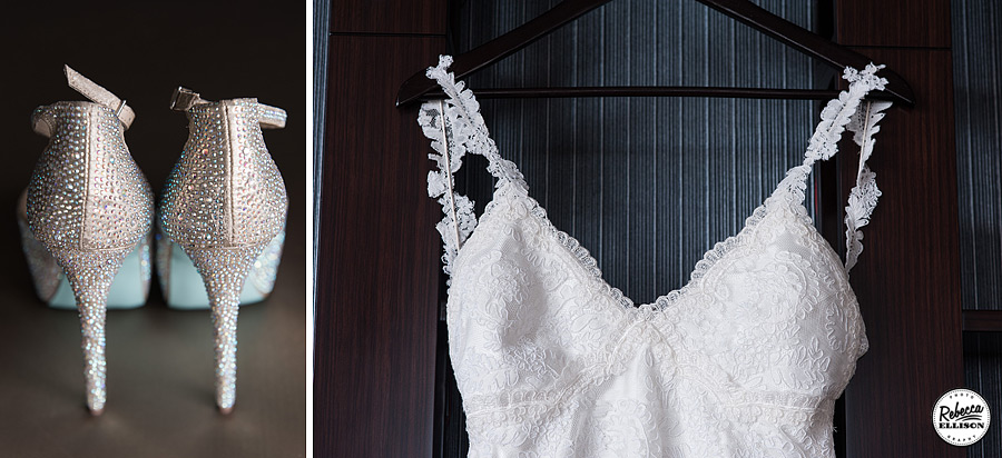 Bridal details with sparkly Betsey Johnson heels and a white Katie May lace wedding dress with lace straps photographed by Rebecca Ellison Photography