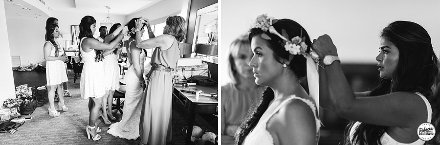 Black and white photos of a bride getting ready featuring a white lace backless wedding dress and a crown of flowers photographed by Seattle wedding photographer Rebecca Ellison