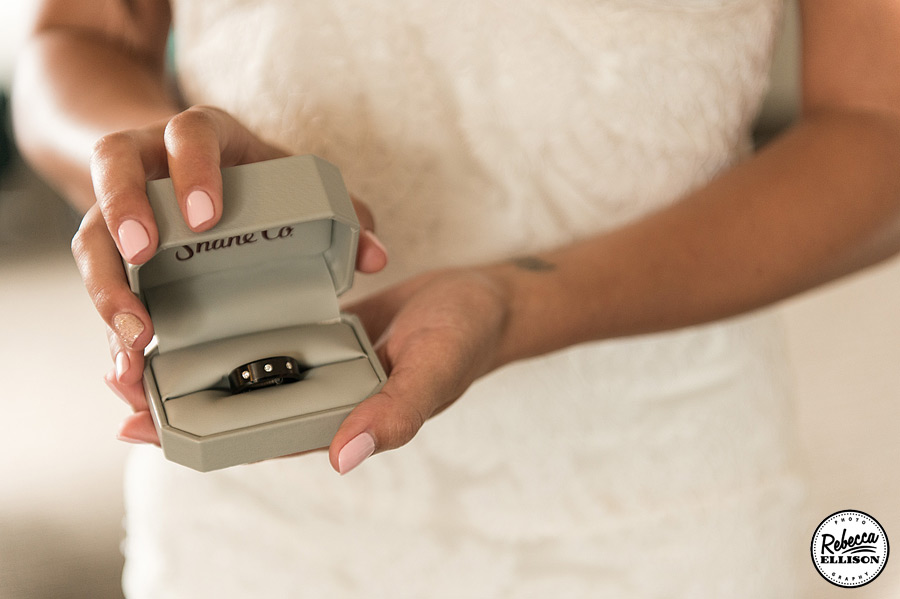 Diamond and leather men's wedding ring photography by Rebecca Ellison