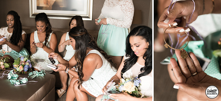 Bridal party gifts before the wedding featuring gold hoop earrings photographed by Seattle wedding photographer Rebecca Ellison