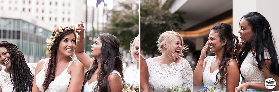 Bridal party has fun in downtown Seattle featuring a fishtail braid and a crown of flowers photographed by Seattle wedding photographer Rebecca Ellison