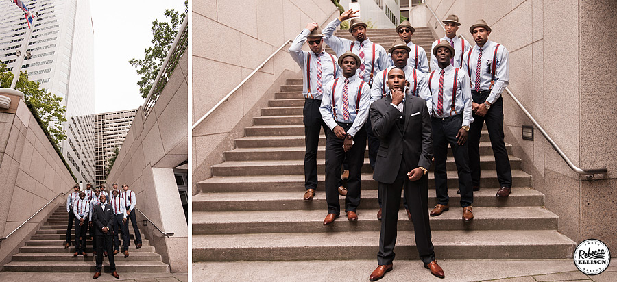 Urban wedding portraits featuring groomsmen on cement stairs wearing brown fedoras, leather suspenders, brown shoes and red and grey ties photographed by Seattle wedding photographer Rebecca Ellison