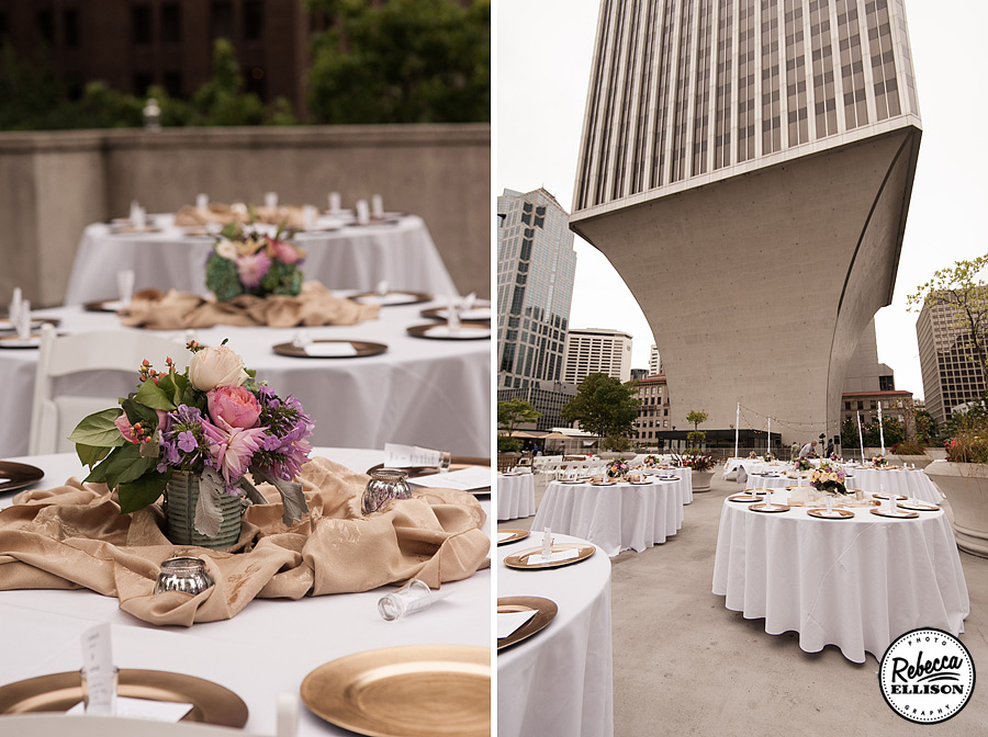 White and gold wedding reception featuring spring colored flowers, gold plate chargers and gold centerpieces at a Rainier Rooftop Park wedding photographed by Rebecca Ellison Photography
