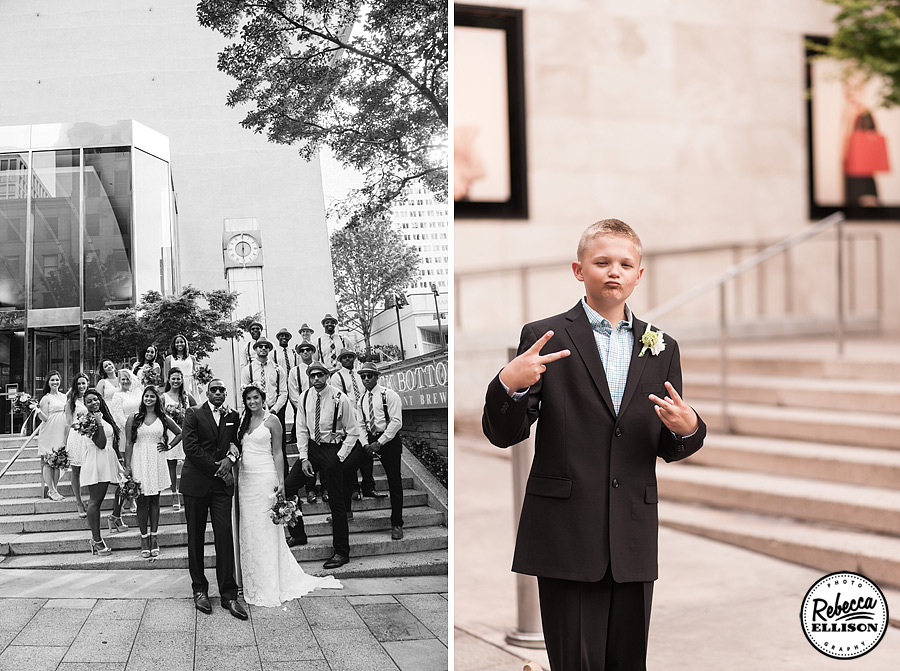 Black and white Wedding party portraits in an urban setting photographed by Rebecca Ellison Photography