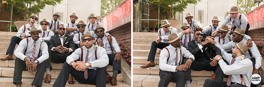 Groomsmen relax on a cement staircase during downtown Seattle wedding portraits featuring fedoras, suspenders and sunglasses photographed by Seattle wedding photographer Rebecca Ellison