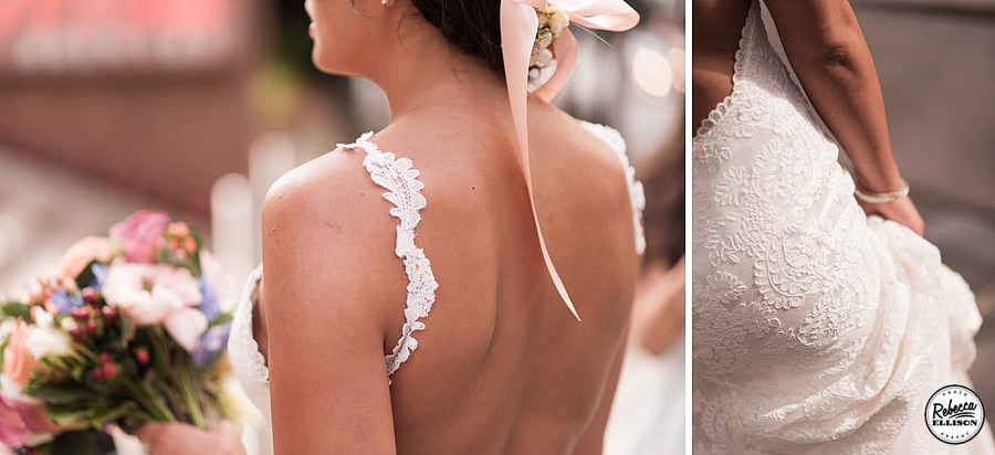 Bridal details featuring a white lace backless Katie May wedding dress, crown of flowers and spring colored bouquet photographed by Rebecca Ellison Photography