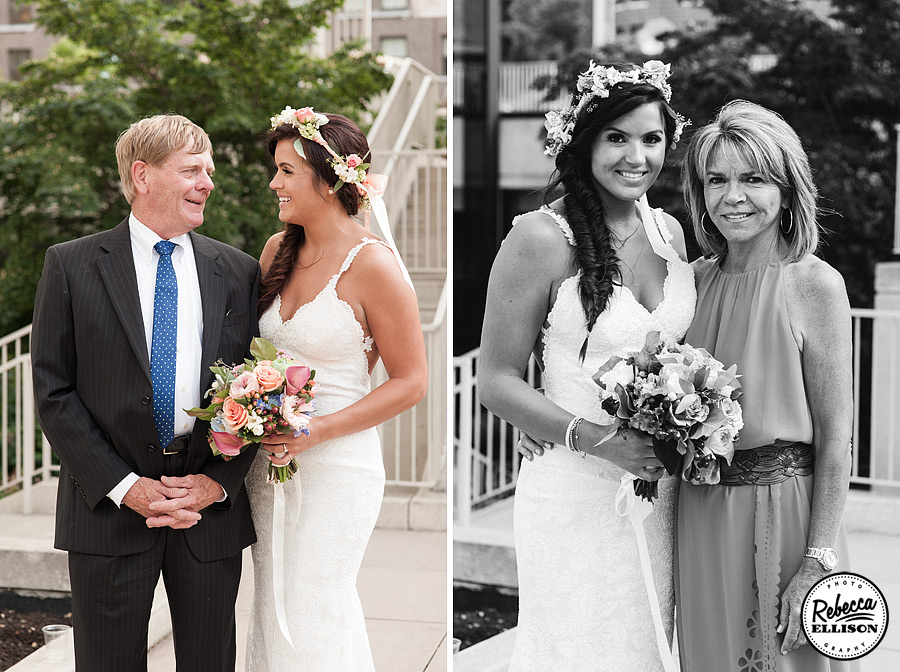 Bride with her parents featuring a white lace wedding dress, crown of flowers and fishtail braid photographed by Seattle wedding photographer Rebecca Ellison