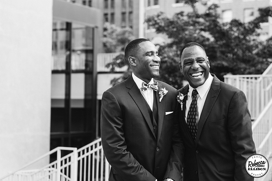 Black and white portrait of a groom and his father photographed by Rebecca Ellison Photography