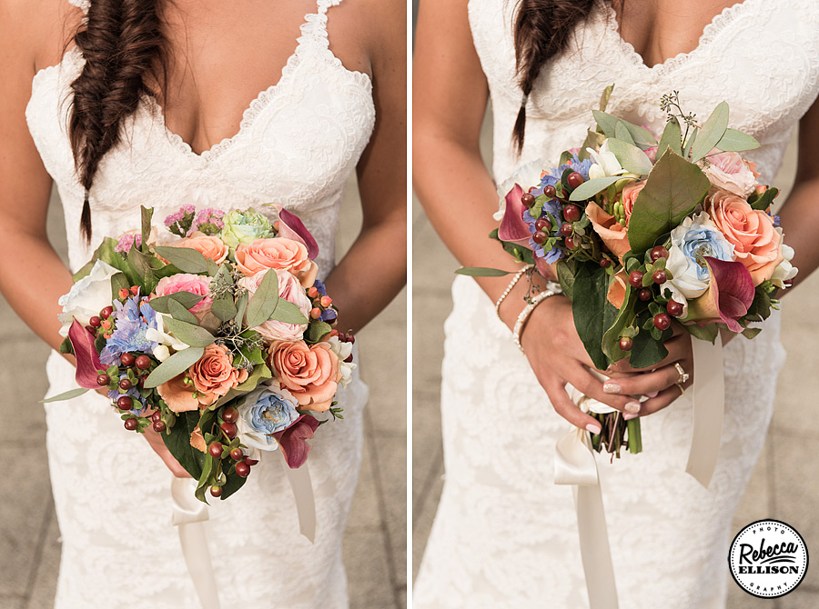 Bridal bouquet featuring spring colored flowers and Katie May wedding dressphotography be Rebecca Ellison