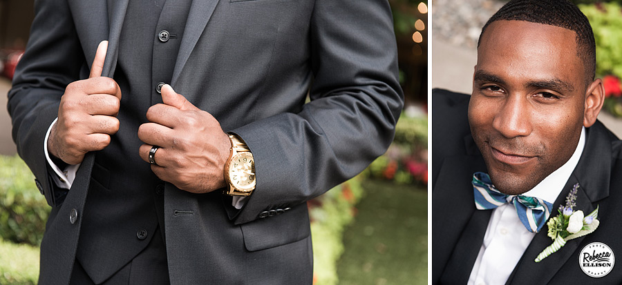 Groom details featuring a blue stripe bowtie, gold wristwatch and a dark grey suit photographed by Seattle wedding photographer Rebecca Ellison
