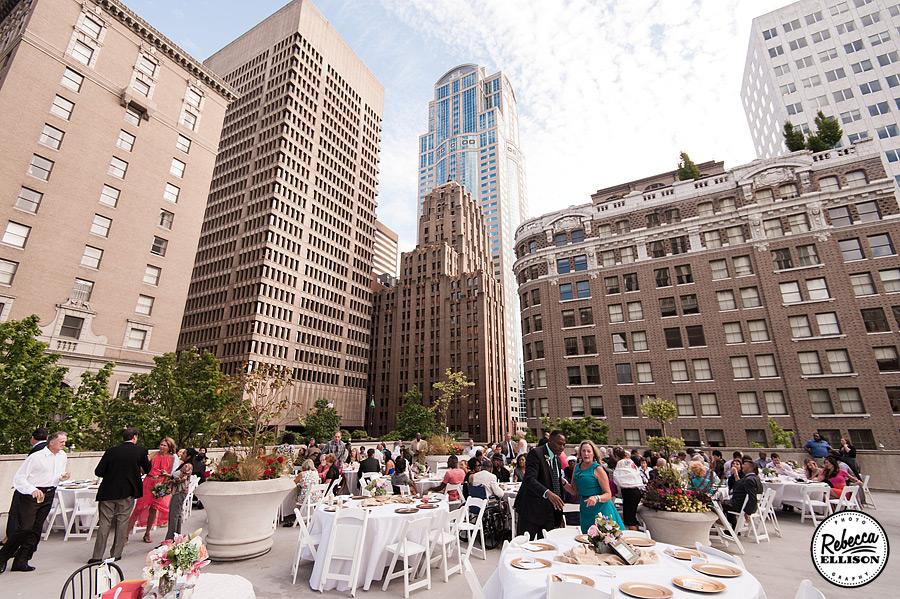 Wedding reception at Rainier Rooftop Park photographed by Seattle wedding photographer Rebecca Ellison