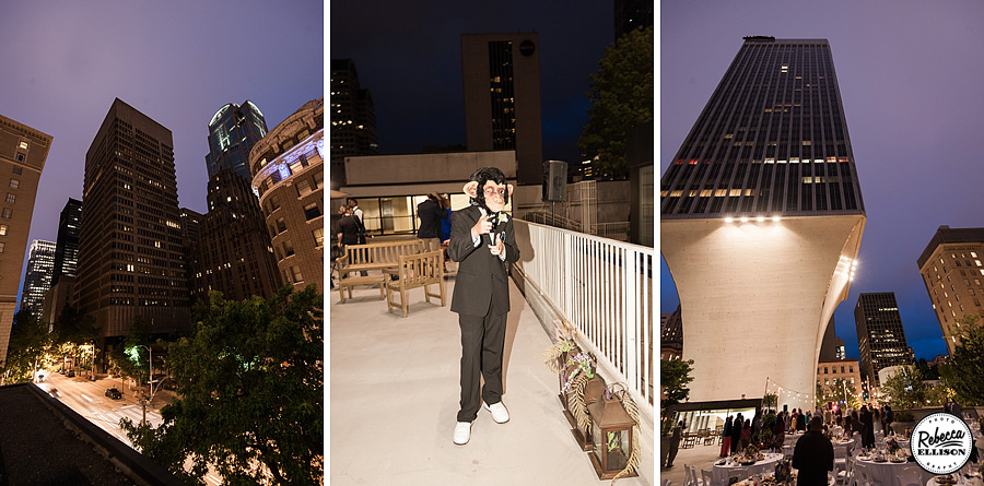 Seattle night skyline is the backdrop for an urban wedding reception photographed by Seattle wedding photographer Rebecca Ellison