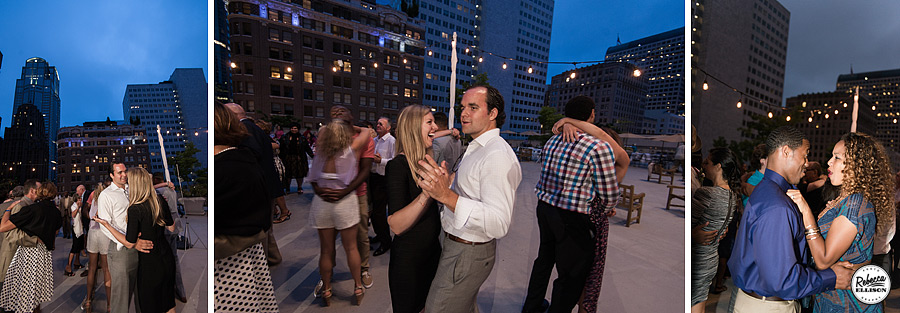 Downtown Seattle wedding reception at night