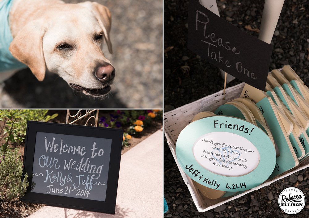Dog included in wedding party at an outdoor garden wedding featuring chalkboard signs and personalized frames as wedding favors