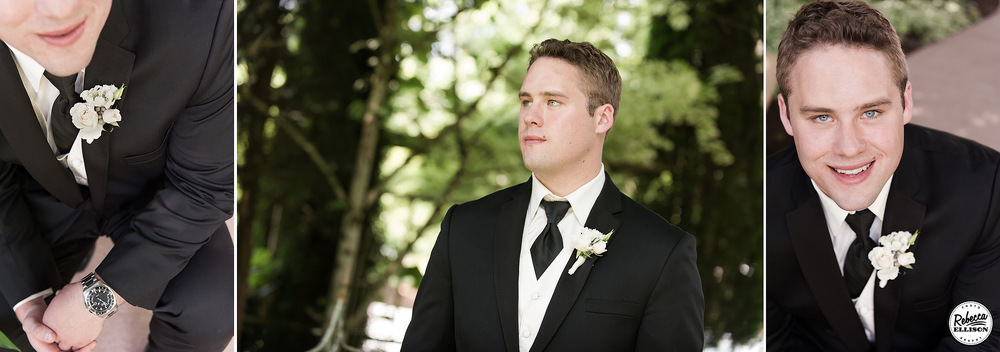 Groom details during an outdoor garden wedding portrait session featuring a black jacket, white vest, black tie, white boutonniere and a black watch