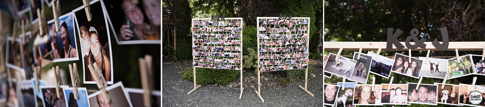 Clothespin photo display adds a personal touch to an outdoor garden wedding photographed by Seattle wedding photographer Rebecca Ellison