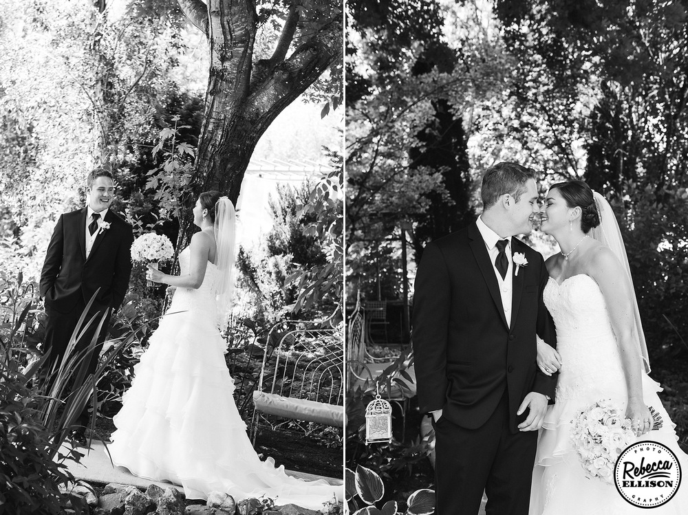 Groom gets a first look at his bride in front of a beautiful tree during outdoor wedding portraits photographed by Seattle wedding photographer Rebecca Ellison