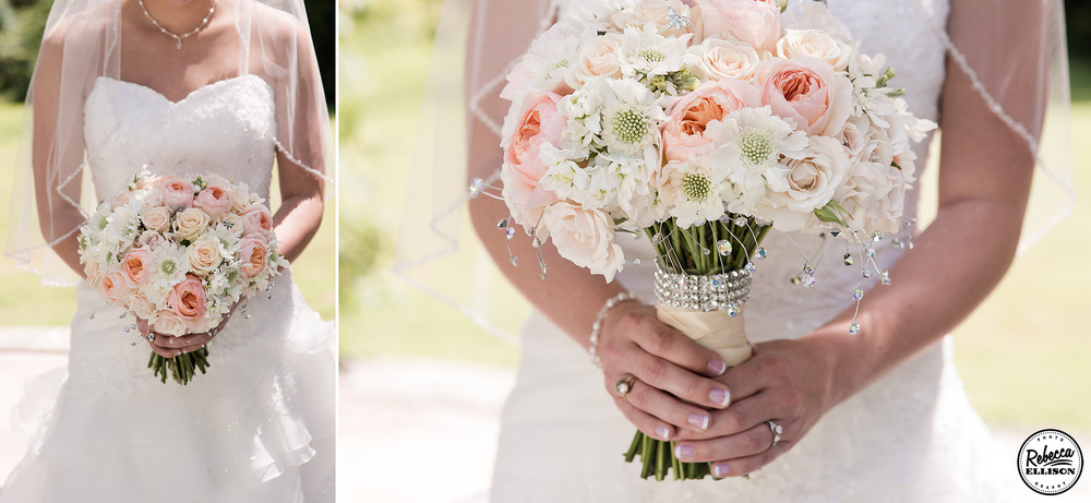 Bridal details featuring a bridal bouquet of peach and white flowers adorned whit crystals and a teardrop necklace photographed by Rebecca Ellison Photography