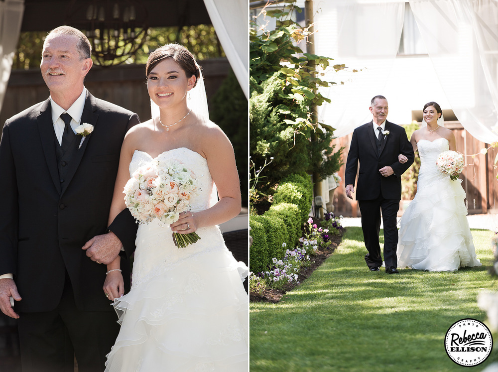 Bride walks down the aisle with her father at her outdoor garden wedding featuring a white strapless wedding dress photographed by Seattle wedding photographer Rebecca Ellison