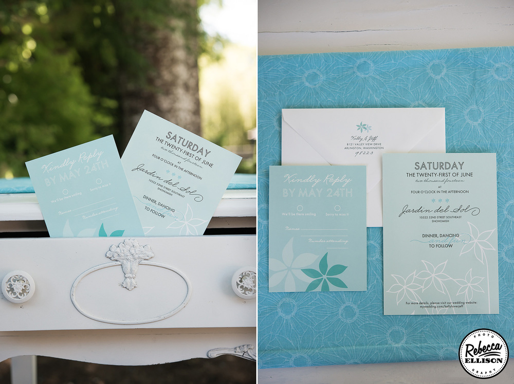 Blue wedding invitation sit in a vintage desk for an outdoor garden wedding