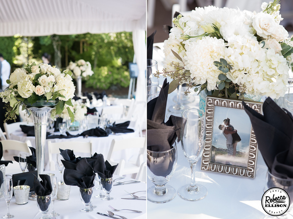 Wedding reception details featuring white flowers, silver vases and black napkins photographed by Seattle wedding photographer Rebecca Ellison
