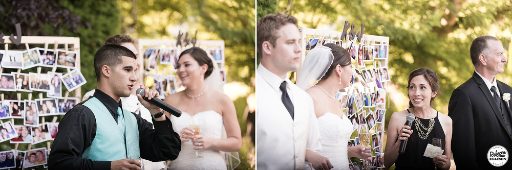 Toasts at an outdoor garden wedding featuring a clothespin photo display backdrop