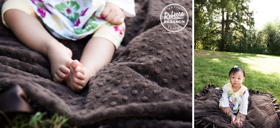 Baby toes on a minkie blanket photographed by bellevue baby photographer Rebecca Ellison
