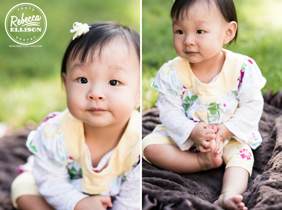 1 year old girl during an outdoor portrait session with Seattle baby photographer Rebecca Ellison