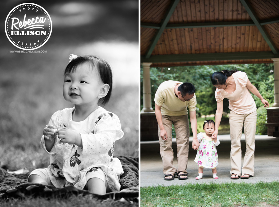 Baby steps for a 1 year olf girl and her parents during a first year photo shoot by Bellevue baby photographer Rebecca Ellison