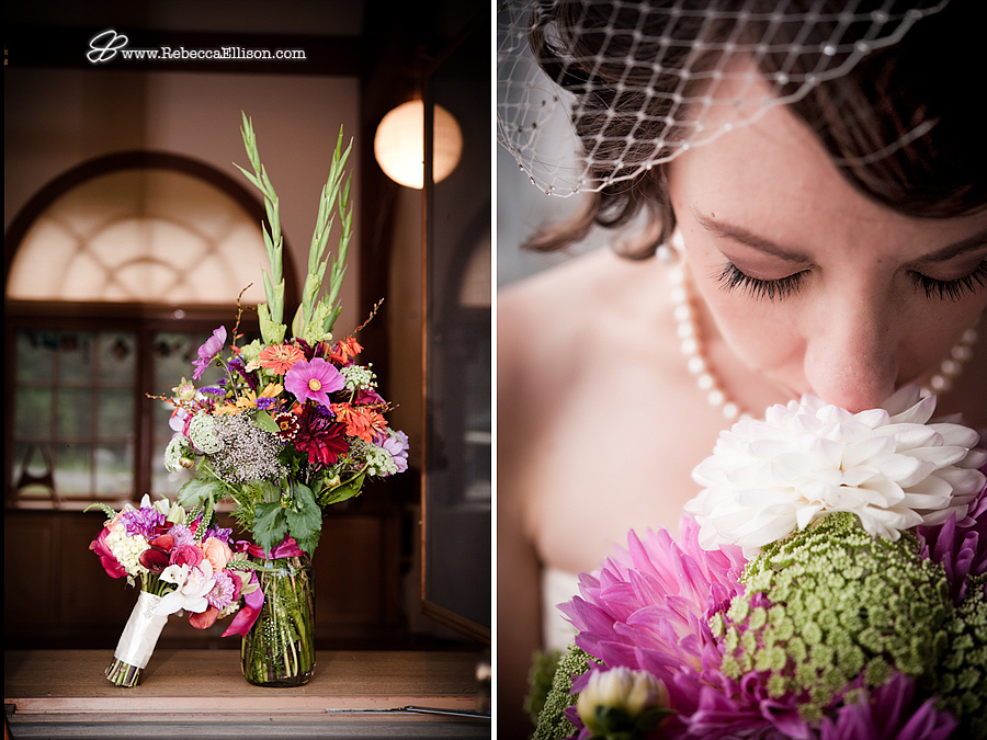 a bridal bouquet and a bride smelling her flowers