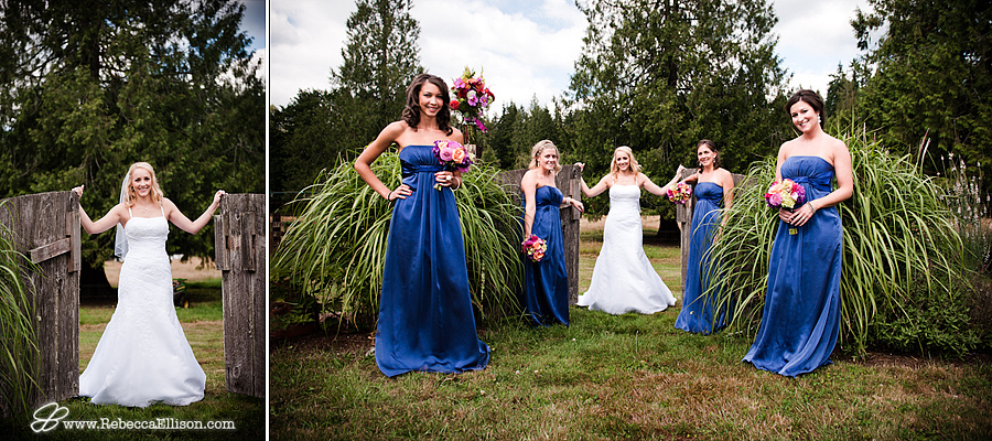 a relaxed portrait of bridesmaids at a farm wedding in Arlington, Washington